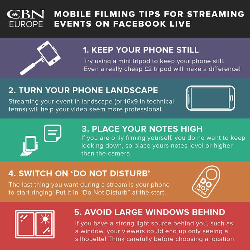 Top Tips Infographic - Mobile Filming on Facebook Live